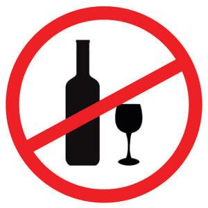 Не употреблять спиртные напитки, особенно красное вино